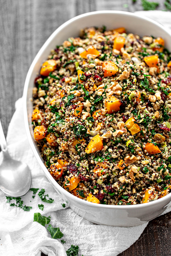 gluten free quinoa stuffing in a white bowl on a table
