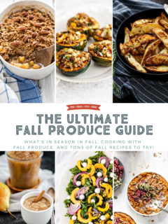 collage of fall produce recipes