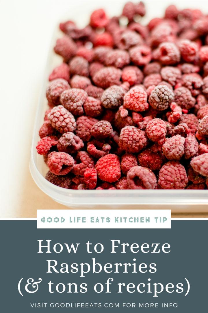 frozen raspberries in a container