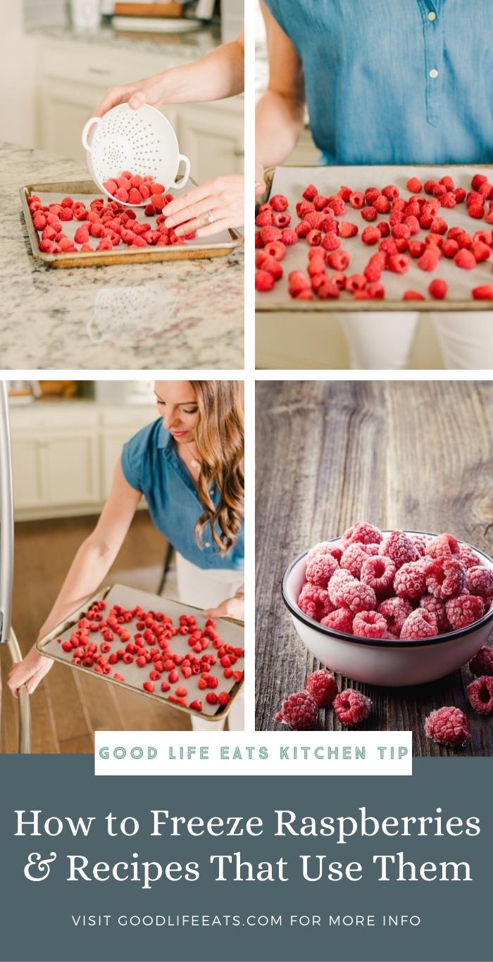 step by step photos of freezing raspberries